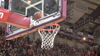 A potential go-ahead basket by London Perrantes got stuck on the rim late in the first overtime