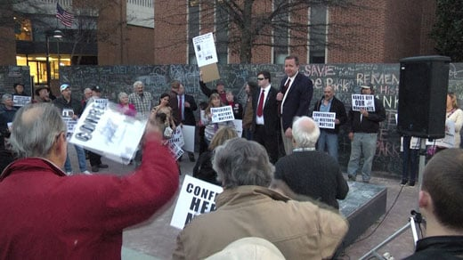 Republican gubernatorial candidate Corey Stewart (right) held a rally in Charlottesville Tuesday