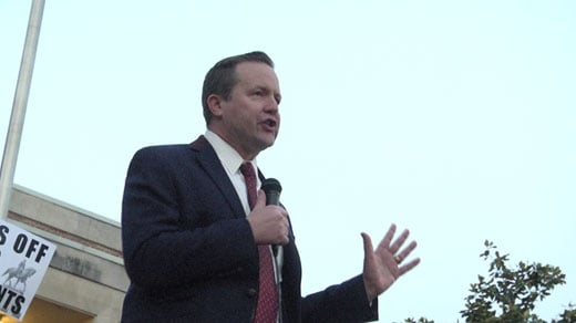 Corey Stewart speaking at a rally in front of Charlottesville City Hall on Tuesday