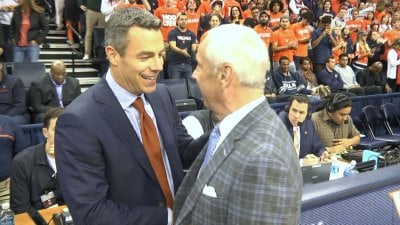 UVa head coach Tony Bennett and UNC head coach Roy Williams