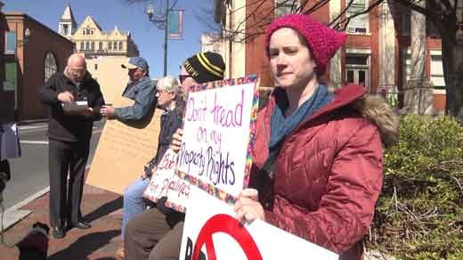 protesters outside Augusta County Courthouse in Staunton