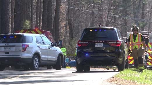 Crews on the scene of a crash on Route 53