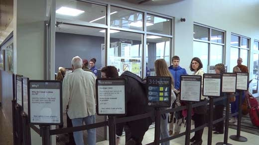 Passengers in line to go through security at Shenandoah Valley Regional Airport (FILE IMAGE)