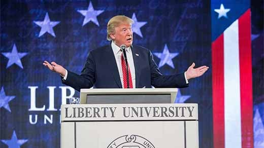 President Donald Trump speaking at Liberty University (Photo courtesy of @LibertyU on Twitter)