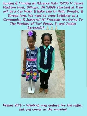 Flyer for an event to help the families of Tori Perez and Jaiden Bartee