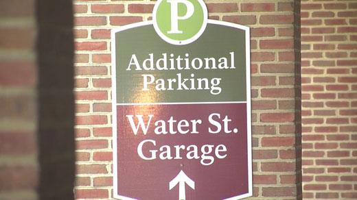Sign for Water Street Parking Garage (FILE)
