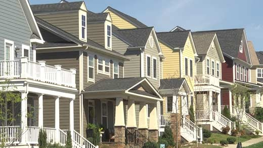 A row of homes in Charlottesville