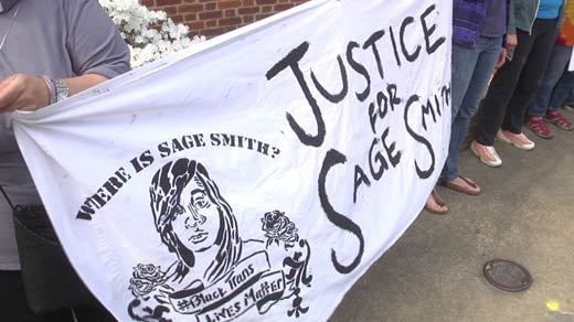 Vigil held for Sage Smith outside of the Charlottesville Police Department