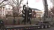 The sculpture was removed Tuesday morning.