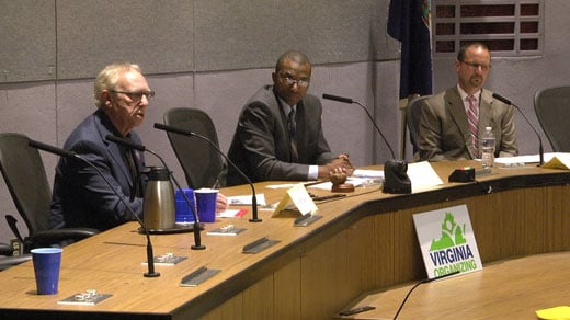 Jeff Fogel (left) and Joe Platania (right) faced off in a debate Thursday night