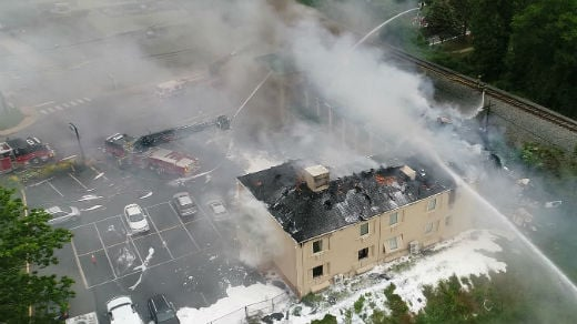 NBC29 drone footage of the fire at Excel Inn & Suites (FILE)