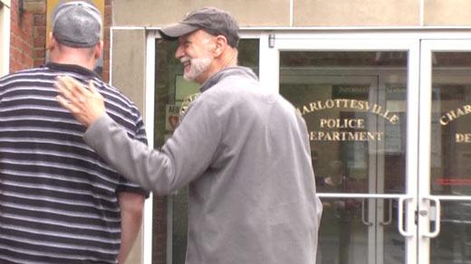 Joseph Draego (right) entering Charlottesville General District Court