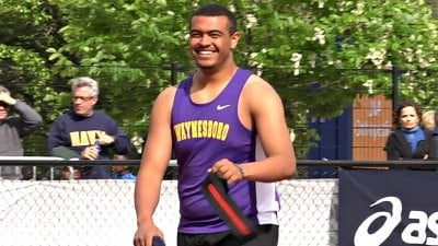 Waynesboro senior Jaylen Simmons placed 3rd in the boys shot put with a toss of 16.71 meters