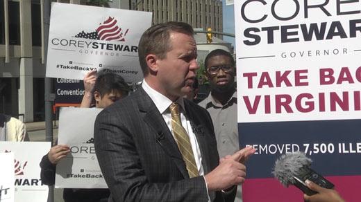 Corey Stewart holding a press conference outside Richmond City Hall