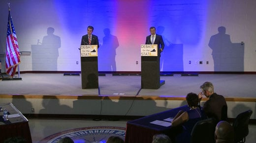 Ralph Northam (left) and Tom Perriello (right) participate in a debate Tuesday