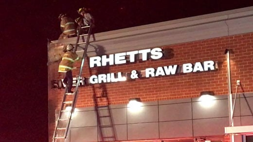 Firefighters on the scene at Rhett's River Grill & Raw Bar