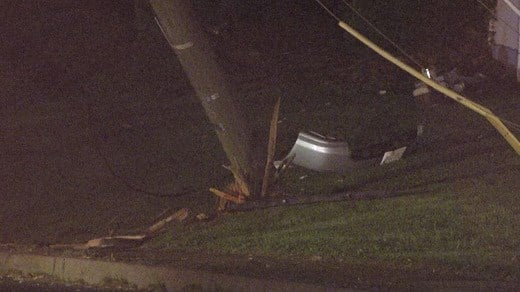 Power pole along Long Street that had been hit by a car