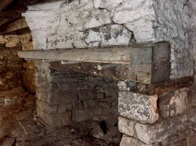 The hearth located in the cellar of the Thomas Harrison House.