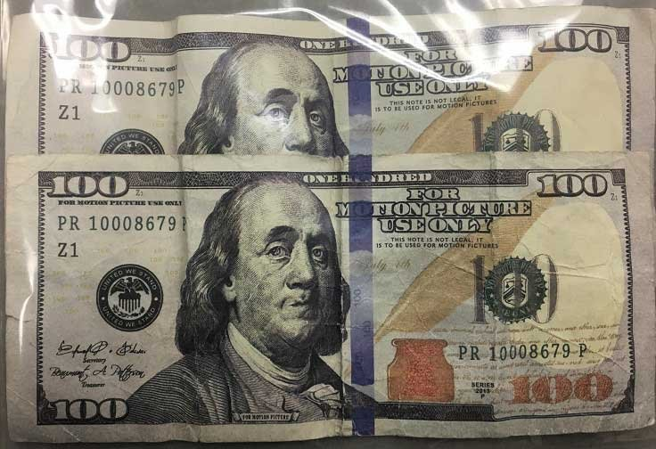 Movie prop money (Photo courtesy ACPD)