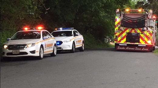 Emergency crews responding to the scene along Rockland Avenue in Charlottesville