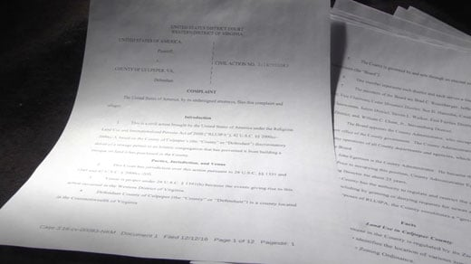 Motion to dismiss a lawsuit between the ICC and Culpeper County
