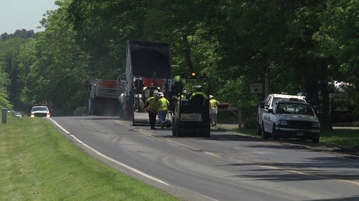 Crews paving a portion of Route 33