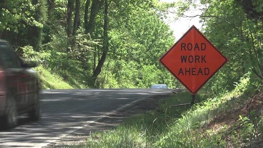 Sign alerting drivers to road work ahead on Route 33