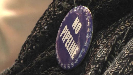 "Wintergreen property owner wearing a ""No Pipeline"" button"