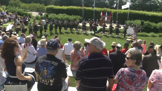 People attended a Memorial Day ceremony at the Virginia War Memorial in Richmond