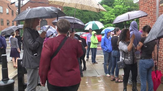 Supporters gather for Fogel and Fitzhugh outside Charlottesville General District Court