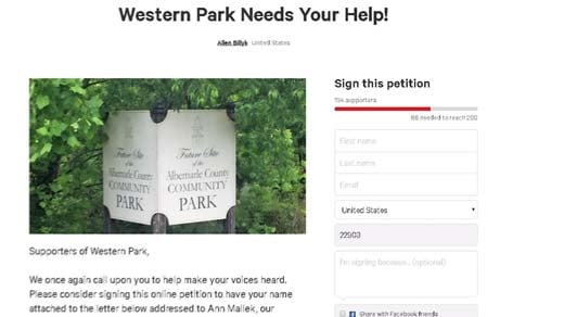 Petition to Ann Mallek asking for NIFI funds for Western Park