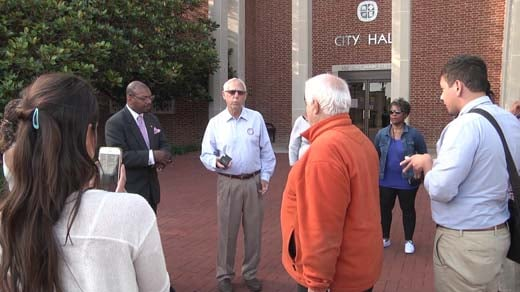 Jeff Fogel held a press conference on the Downtown Mall Thursday