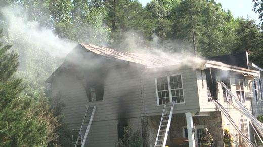 scene of house fire on Spotswood Trail
