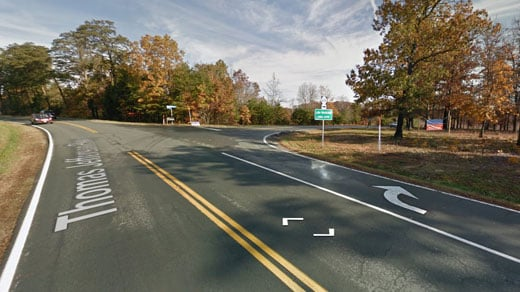 Intersection of Route 53 and Route 618 in Fluvanna County (Image courtesy Google Maps)