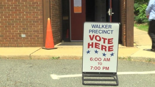 Sign at the Walker Precinct in Charlottesville