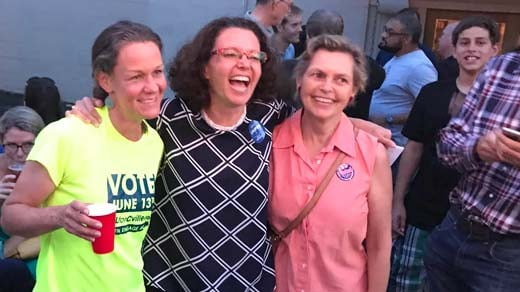 Heather Hill (left), Amy Laufer (center), and currently city council member Kathy Galvin (right)