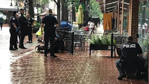 scene after stabbing incident on Downtown Mall