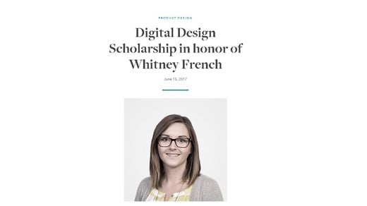 WillowTree's webpage for Whitney French scholarship