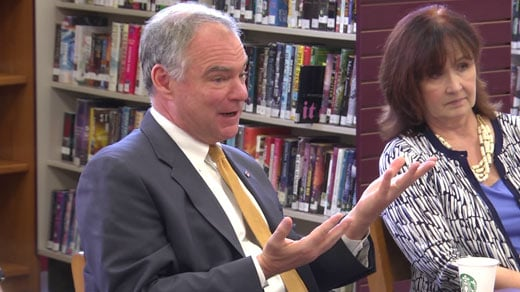 U.S. Senator Tim Kaine hosting a discussion on Medicaid at Albemarle High School