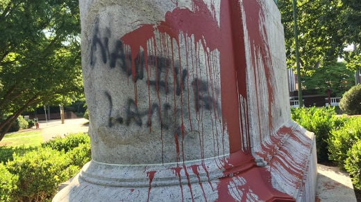 Graffiti on Lee Statue in Charlottesville's Emancipation Park