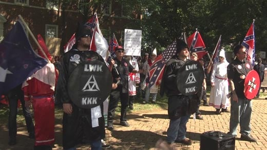 Members of the Loyal White Knights of the KKK gather at Justice Park in Charlottesville