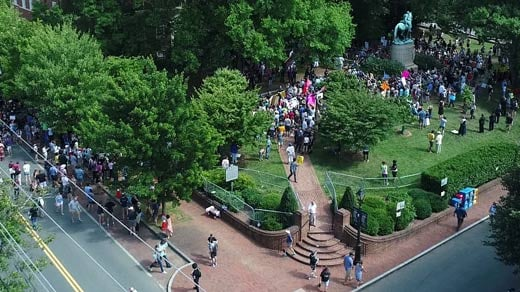 People gathering at Justice Park in Charlottesville (Courtesy skycladaerial.com)