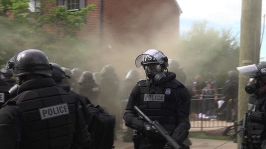 Police used a chemical irritant to disperse protesters in Charlottesville