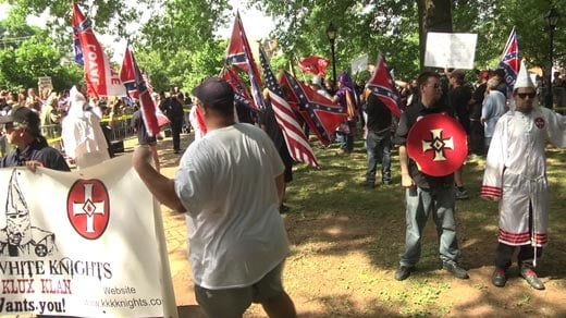 Supporters and members of the Loyal White Knights of the KKK holding a rally at Justice Park (FILE IMAGE)