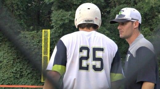 Tom Sox manager Corey Hunt talks to Cole Migliorini