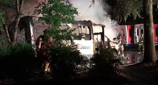 JAUNT bus badly damaged by a fire in Charlottesville