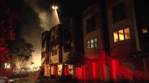 Crews on the scene of a fire at Linden Town Lofts in Charlottesville