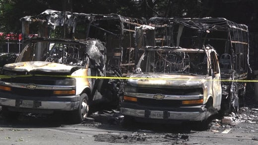 JANUT buses badly damaged by an early-morning fire in Charlottesville