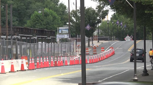 construction cones along West Main Street
