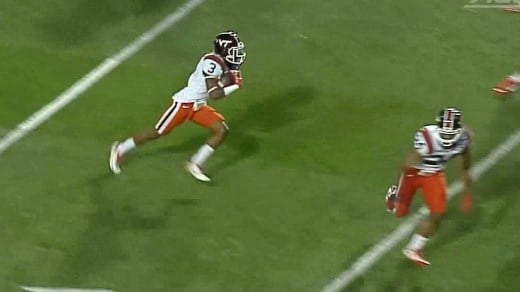 Greg Stroman returns a kick for a touchdown